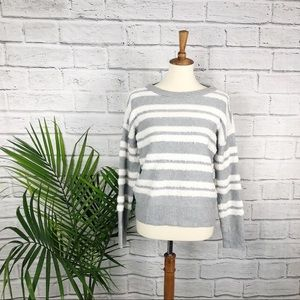 Vince Camuto   Gray and White Striped Sweater